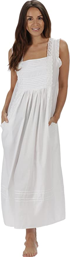 1920s Lingerie History- Underwear, Slip, Bra, Corset 100% Cotton Long Nightgown with Pockets XS-3X Rebecca The 1 for U  $39.99 AT vintagedancer.com