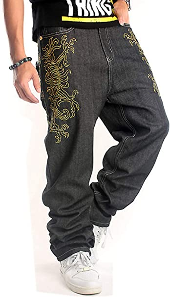 QBO Mens Hip Hop Embroidery Graphic Baggy Jeans Loose Pants