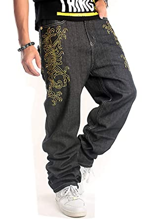 044dc347c27 QBO Men s Hip Hop Embroidery Graphic Baggy Jeans Loose Pants at ...