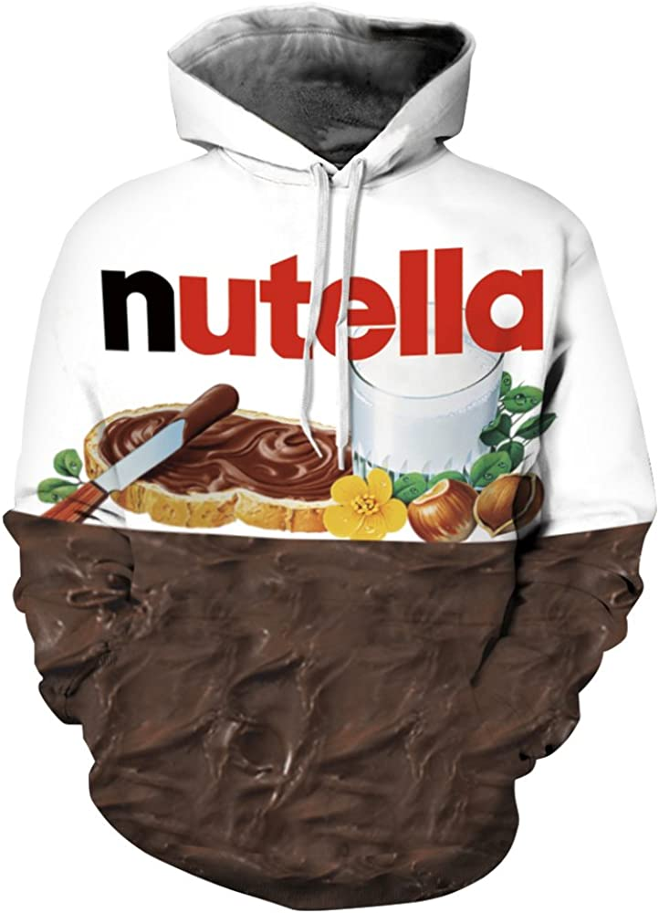 QZUnique Causal Unisex Chocolate Doughnut Printing Pullover Hoodie Lovers Sports Sweatshirt