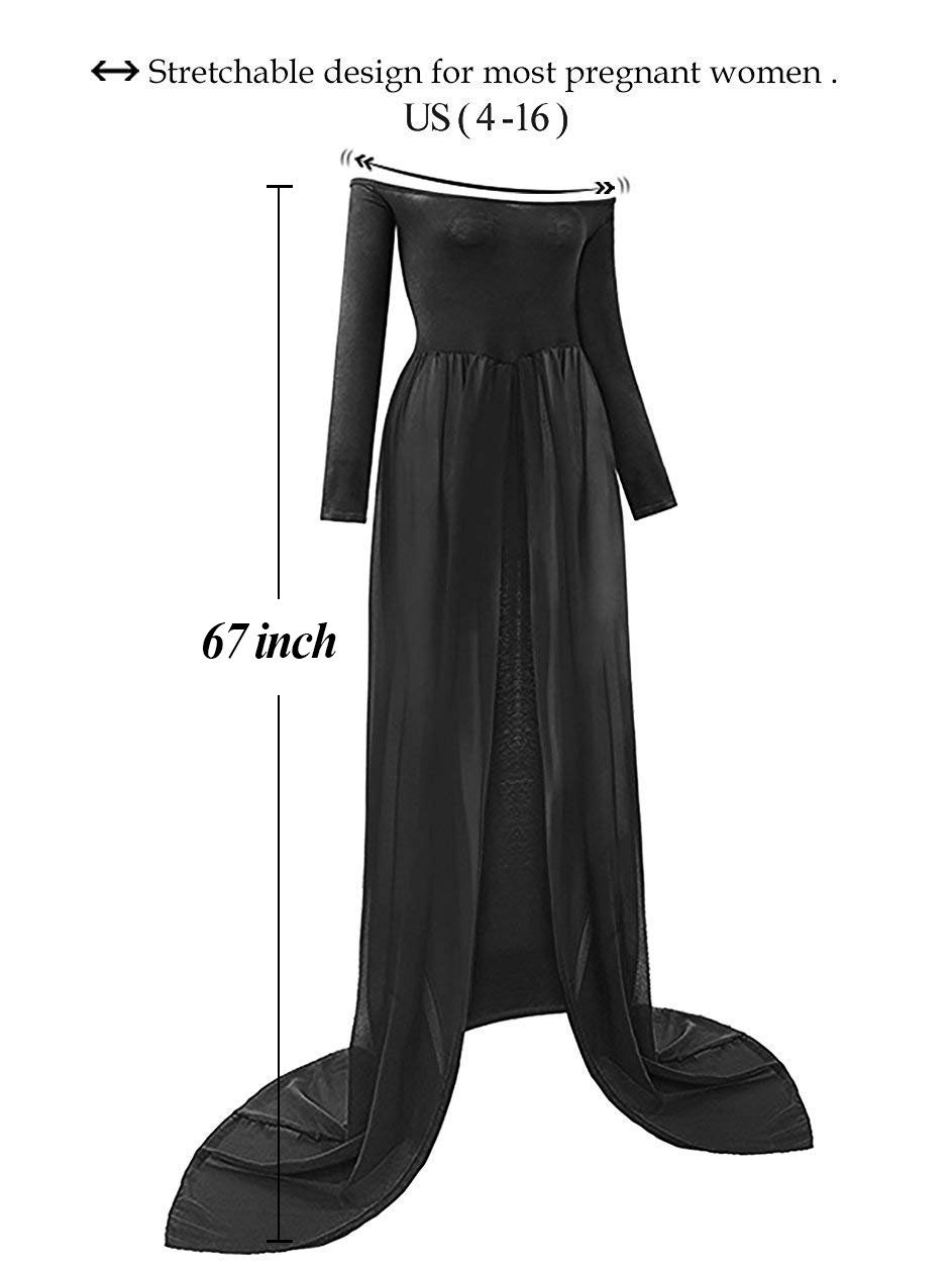 Justvh Maternity Off Shoulder Chiffon Gown Long Sleeve Front Split Maxi Dress Clothing, Shoes & Accessories