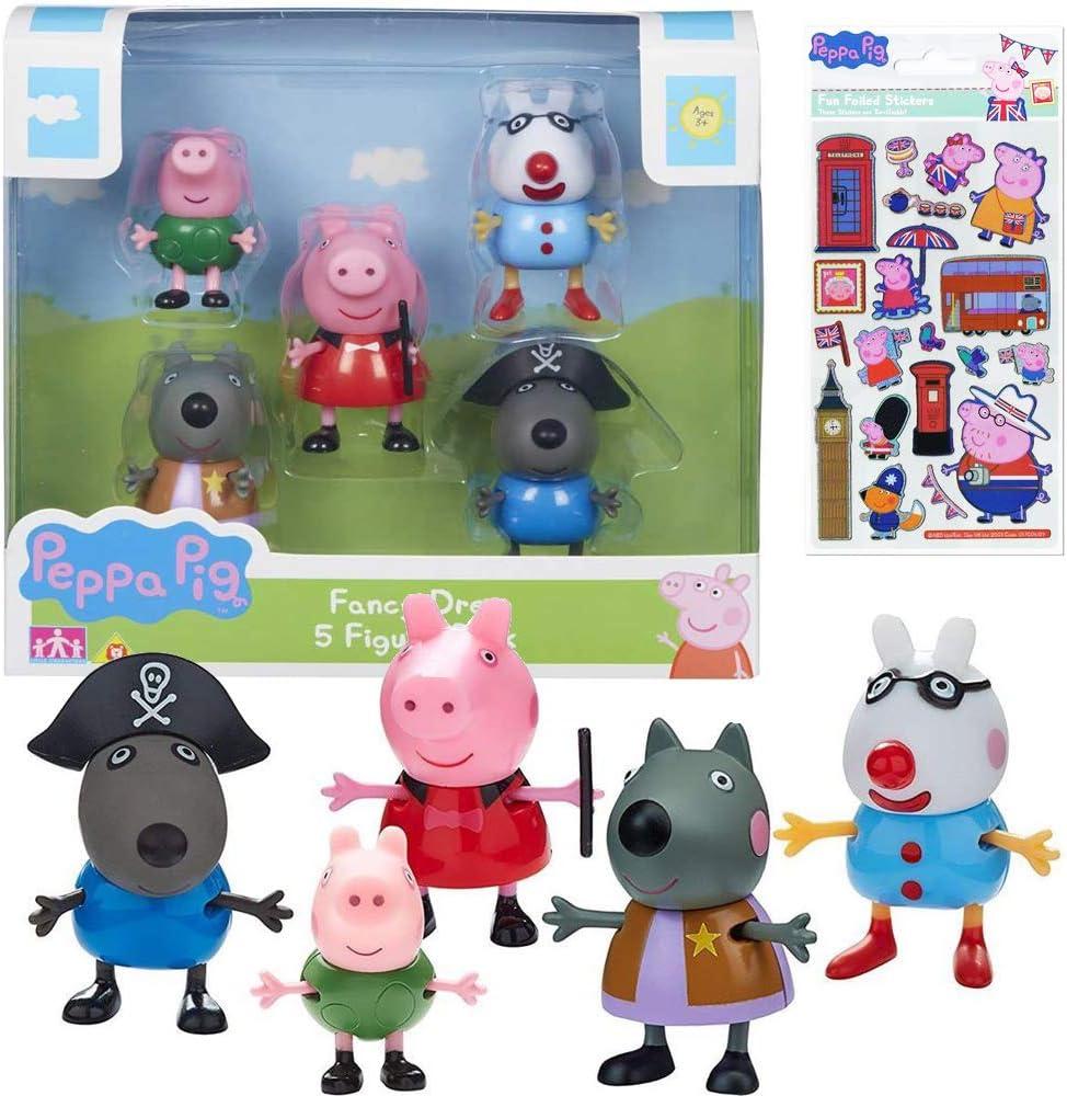 Trendy Tendency Peppa Pig Juguetes – Peppa Pig Figuras con Pegatinas y muñecos / Descubre y Juego con Pepa George y Sus Amigos disfrazados / Juguete para la Familia y Niños de