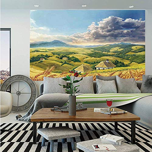 (Country Decor Removable Wall Mural,Paint of Summer Rural Landscape with Wheat and Small Country Houses in Valley Art,Self-Adhesive Large Wallpaper for Home Decor 66x96 inches,Green White Blue)