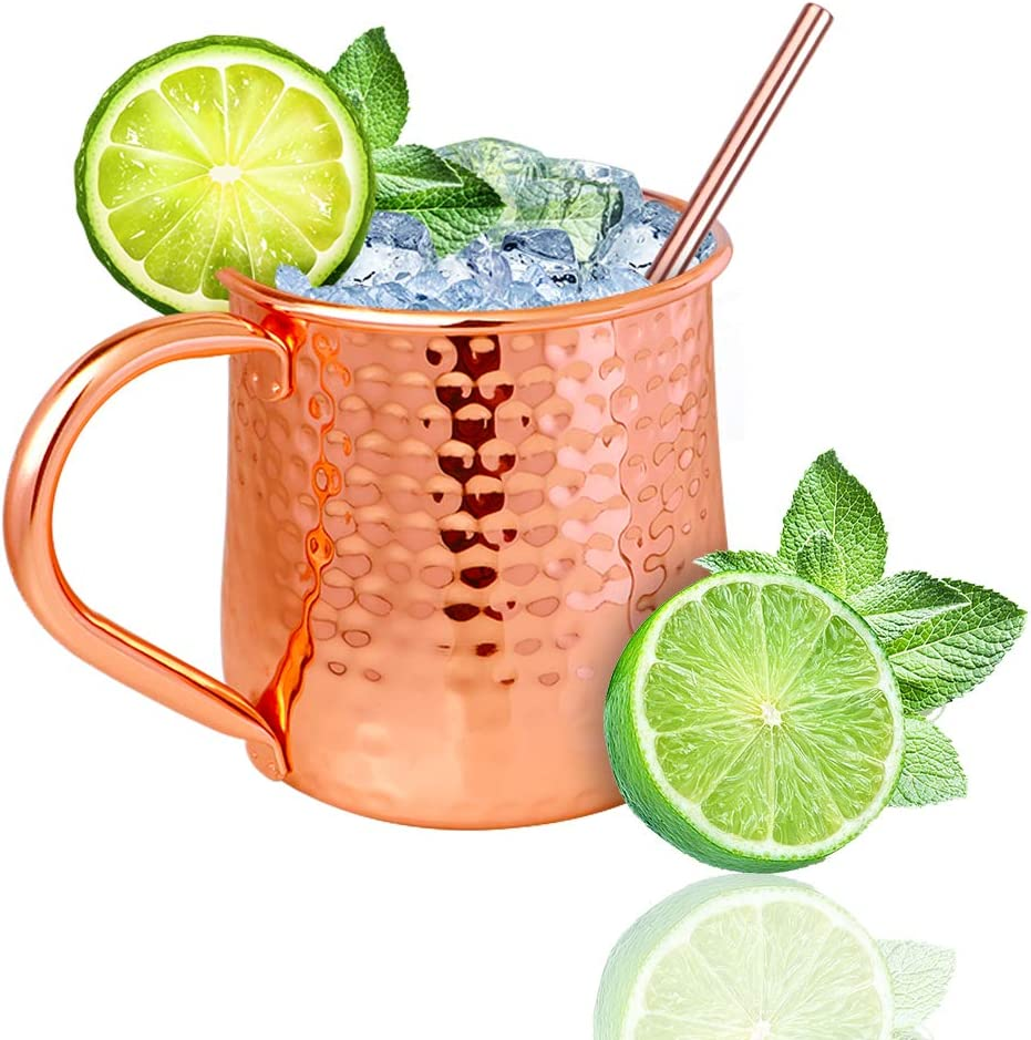 Moscow Mule Copper Mugs-100% Handcrafted- - Food Safe Pure Solid Copper Mugs- Use as Copper Tumbler, Mint Julep Cup, Coffee Mug, Ice Cream Cup, Fries Bowl, Copper Cup for Cold Beverage (18OZ)