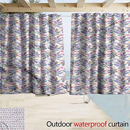 Doorway Curtain Colorful Delicate Leafy Stems Dots Room Darkening, Noise Reducing W72x72L Inches ()