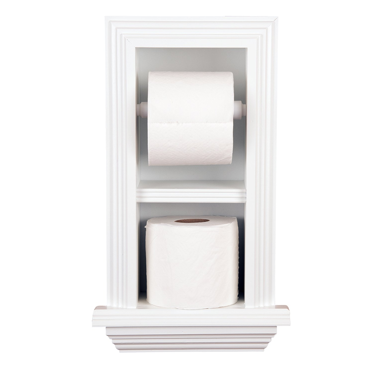 WG Wood Products Series Recessed Double TP Holder-Multiple Finishes, White