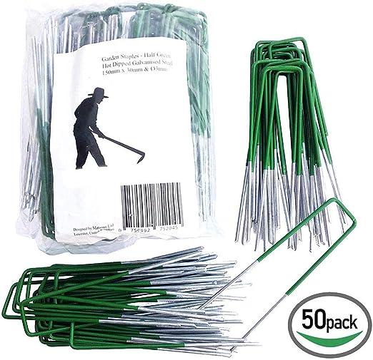 su-xuri 50 Piezas de estacas de jardín Grapas de Paisaje galvanizadas, Grapas de césped de Tipo U para césped Artificial, estacas de Pasador para asegurar Las cercas Barrera de malezas Well-Liked: Amazon.es:
