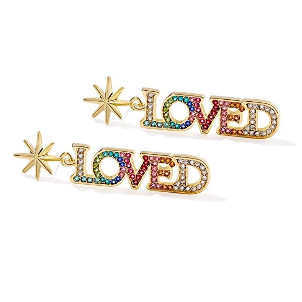 S925 Sterling Silver CZ 14k Yellow Gold Plated Letters LOVED Colorful Cubic Zirconia Stud Earrings Long Drop Dangle Earrings Chandelier Hoop Earrings Ear Hoops Set Fine Jewelry