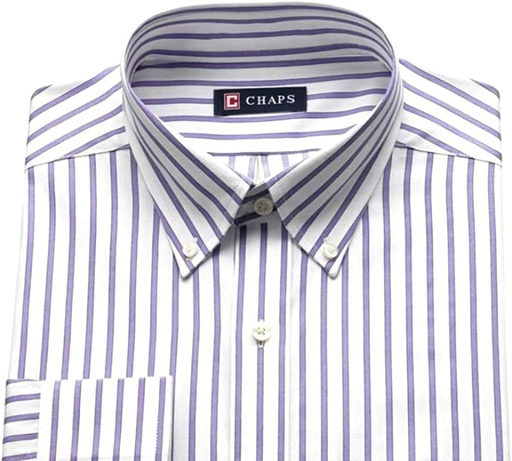 Banana Cream Chaps Mens Regular-Fit Stripe Wrinkle Free Stretch Collar Dress Shirt