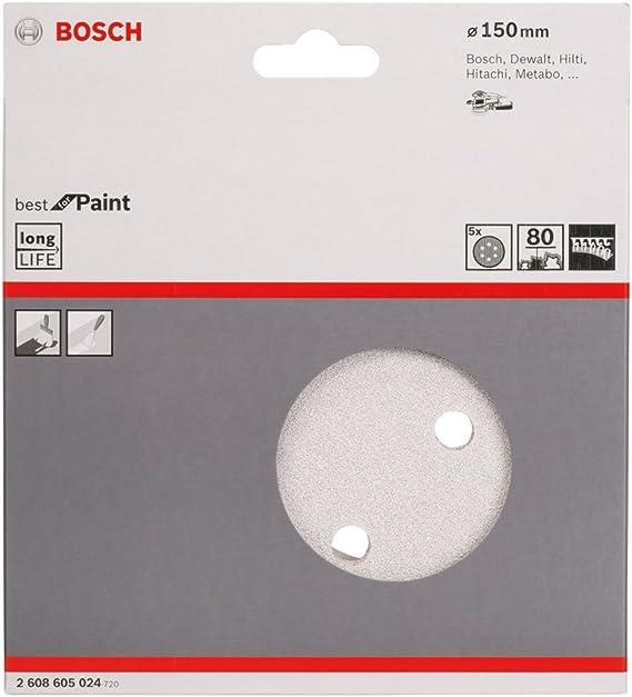 Bosch 2608605087 Disque abrasif 5 pi/èces 150 mm Grain K80