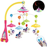 Mini Tudou Musical Baby Crib Mobile with Remote Control Cartoon Animal Rattles Projection Music Box for Newborn Baby Boys Girls Special Version …