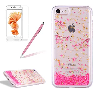 Girlyard iPhone 7 Case with Screen Protector, iPhone 8 Case Clear with Design Cute Animal Flowers Pattern Slim Shockproof Soft Flexible TPU Back Cover for iPhone 8/7-Cherry Blossoms: Electronics