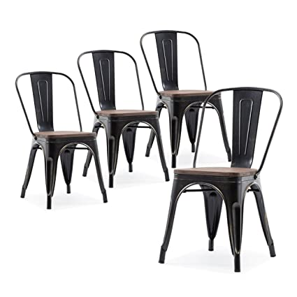 Belleze Set of 4 Wood Seat Cafe Bar Stool Modern Style Metal Industrial  Stackable Bistro Dining - Amazon.com: Belleze Set Of 4 Wood Seat Cafe Bar Stool Modern Style