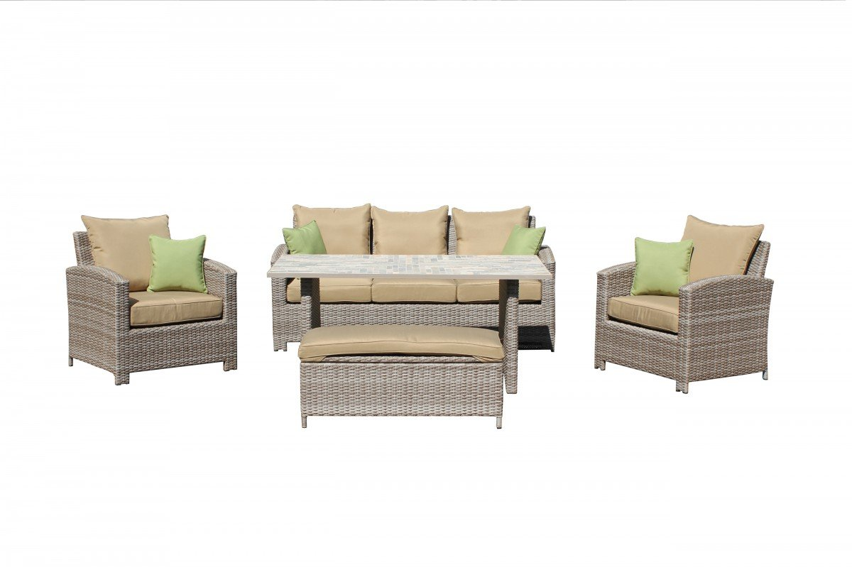 Details Zu Dreams4Home Garten Lounge Set U201aMikeu0027 U2013 Bank, Sitzbank,  Gartenmöbel, Cappuccino, Tisch, Inklusive Kissen, Hochwertiges HDPE Geflecht,  ...