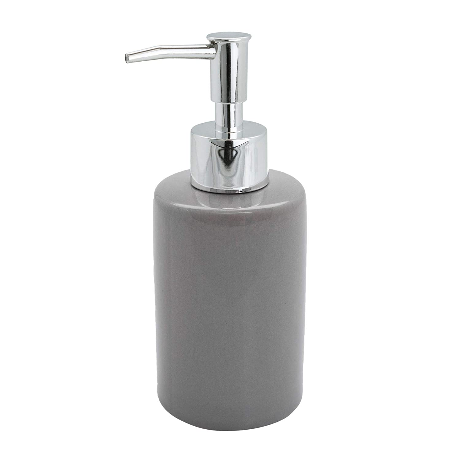 Harbour Housewares Glazed Ceramic Pump Soap Dispenser Bottle - 280ml - Grey
