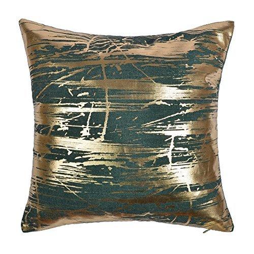 JWH Gold Foil Throw Pillow Case Linen Decorative Cushion Cover Home Sofa Car Bed Living Room Decor Pillowcase Digital Print Shell 17 x 17 Inch Green (Cushions Green And Gold)