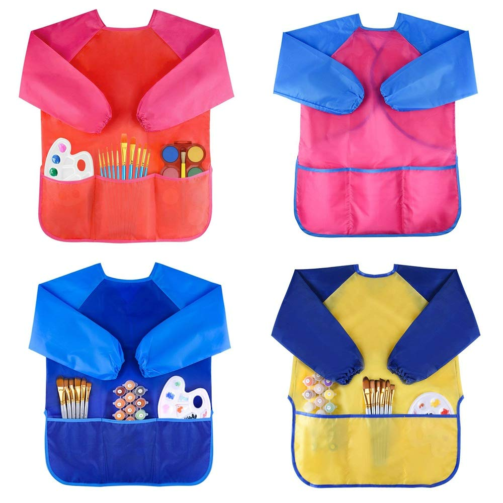IRCtek Kids Art Smock, Waterproof Children Painting Apron Long Sleeves with 3 Roomy Pockets for Age of 5-7 Years Old, 4-Pack, Assorted Colors