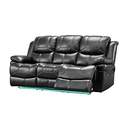 NCF Furniture Farrar Dual Motion Recliner Sofa in Black