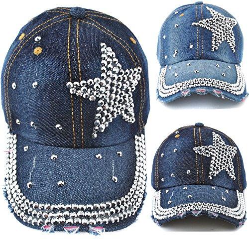 93a698ca36a Elonmo Cute Silver Big Star Womens Baseball Cap Jewel Rhinestone Bling Hats  Jeans Wash Denim