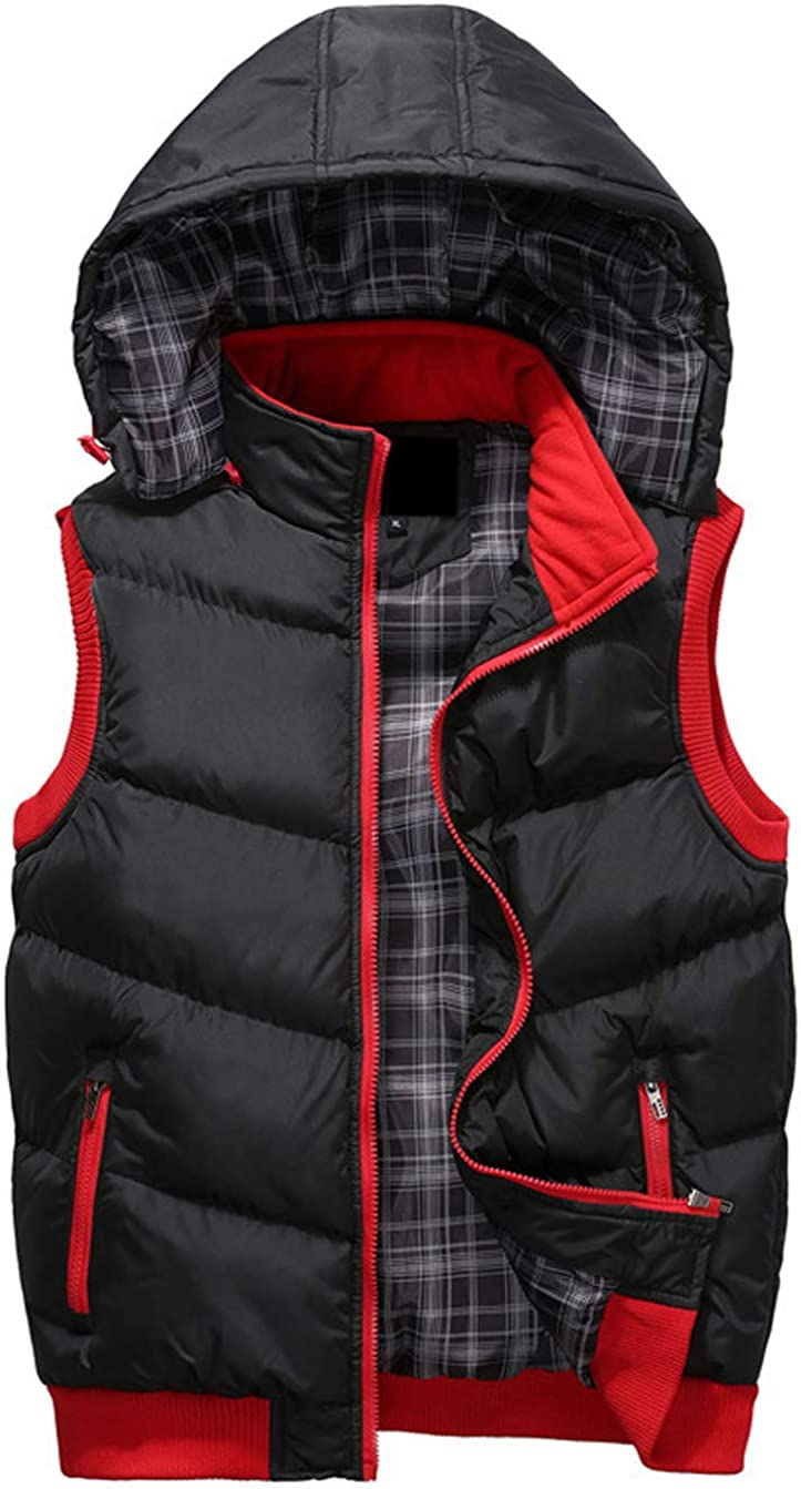 Gsun Mens Winter Outdoor Hooded Padded Puffer Quilted Vests