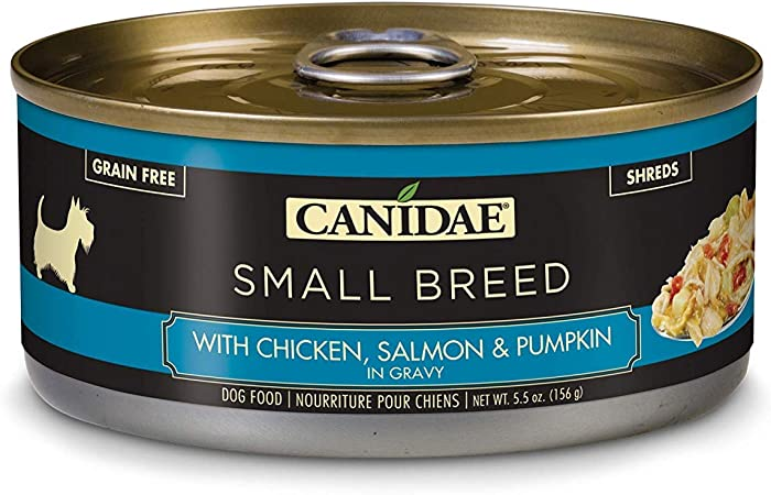 CANIDAE Petite Small Breed, Limited Ingredient Grain Free Wet Dog Food, Chicken, Salmon, & Pumpkin In Gravy, 5.5oz (24Pk)