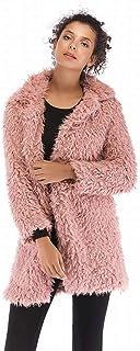 Good dress Abrigo de Cordero de Imitación de Las Mujeres de Otoño e Invierno Top Temperamento de Color Puro Salvaje Cálido Abrigo de Felpa de Manga Larga, Rosado, XL