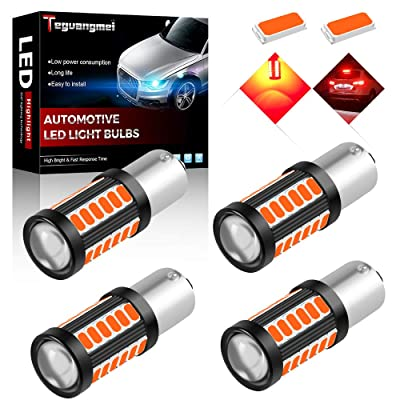 Teguangmei 4pcs 1156 BA15S P21W 1141 7056 Car LED Bulbs Reversing Light Brake Light Rear Fog Lamps 900Lumens High Bright Red Waterproof 5730 33-SMD Position Light Tail Light 12-30V 3.6W: Automotive