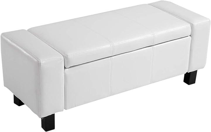 Banc coffre de rangement 2 en 1 simili cuir capitonné 106L x 40l x 40H cm blanc