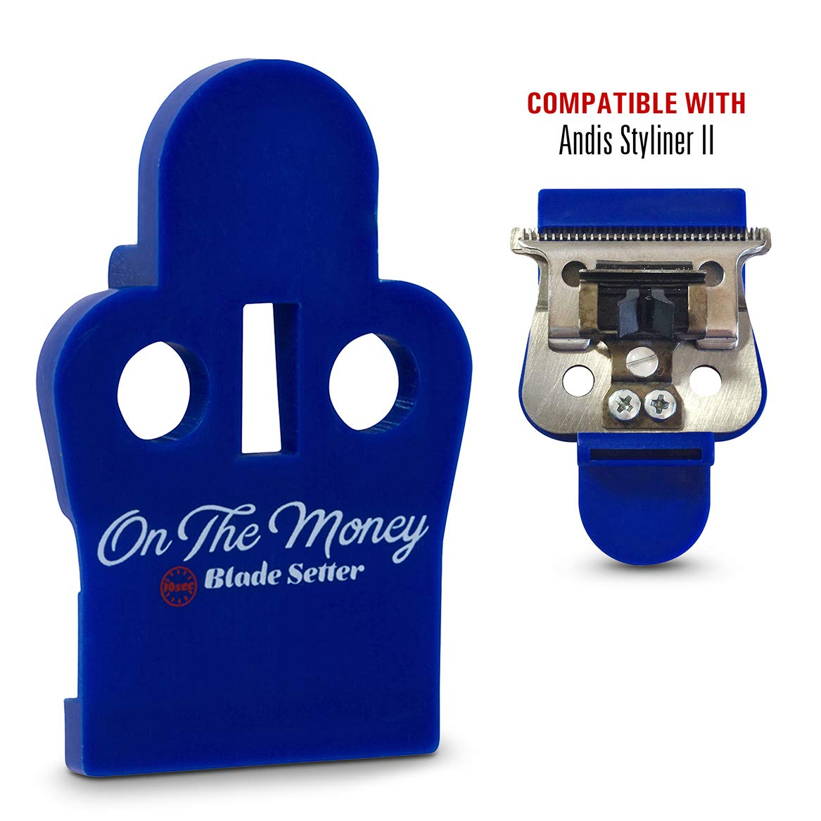 ON THE MONEY 10 Sec Blade Setter BLUE (Andis Styliner II) - The World's Fastest & Easiest way to perfectly adjust and set Trimmer Blades The Rich Barber