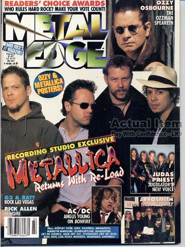 Metal Edge Magazine METALLICA Ozzy JONATHAN DAVIS Rick Allen PANTERA Nikki Sixx AC/DC February 1998 C (Leppard Allen Def Rick)