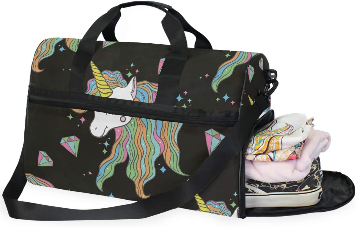 AHOMY Unicorn Sports Gym Bag with Shoes Compartment Travel Duffel Bag