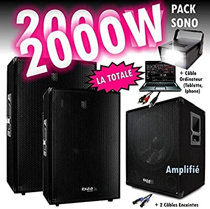 Pack sono DJ 2000 W cubo 1512 con subwoofer – encentes – cables HP ...