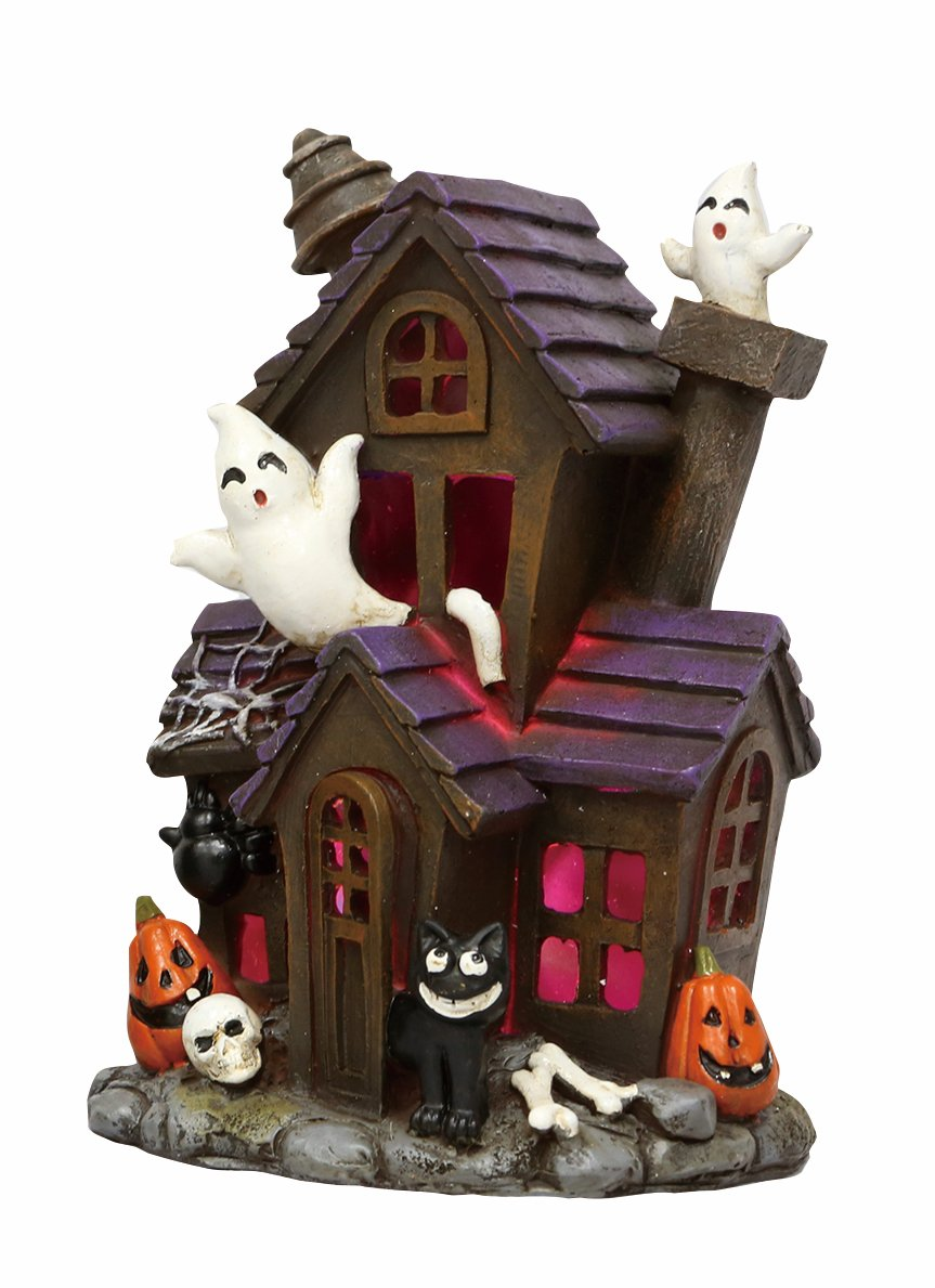 One Holiday Lane Mini LED Light-up Color-Changing Haunted Halloween Ghost House Tabletop Decoration (Black Cat)