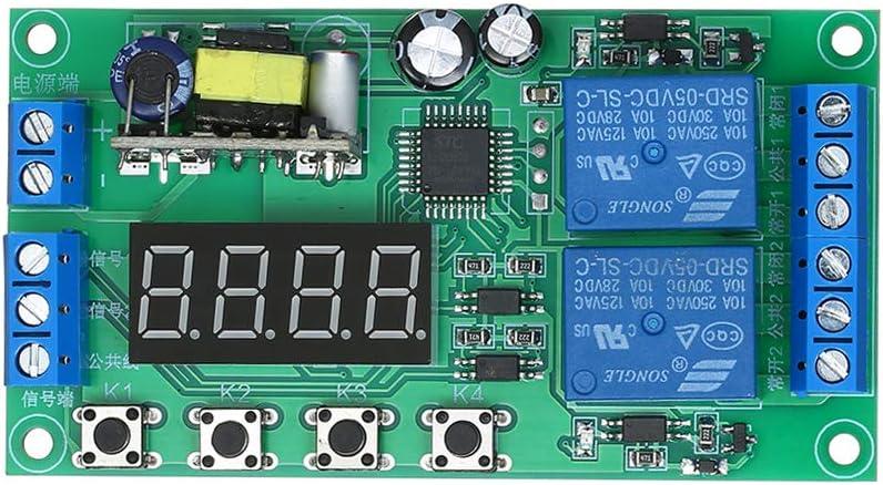 2-Kanal-Timer-Verz/ögerungsrelais-Modul DC 7~30 V LED-Anzeige 0,01 s ~ 999 min Einstellbarer Impulsausl/öser Ausschalten Zirkulations-Timing-Schaltkreis Automatische Steuerung