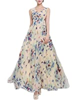 Chiffon Long Maxi Floral Dress Vintage Evening Cocktail Party Dress Butterfly(size corrected)