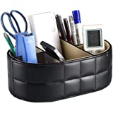 iSuperb® Leather Desk Organiser Case Office Multi-functional Desk Table Stationery Organizer Storage Box Phone Remote Control Holder 19.5x13x8cm (Five Compartments Desk Organizer Case)