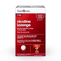 Amazon Basic Care Basic Care Nicotine Polacrilex Lozenge 4 mg (nicotine), Cherry Flavor, Stop Smoking Aid, 168 Count, Sand