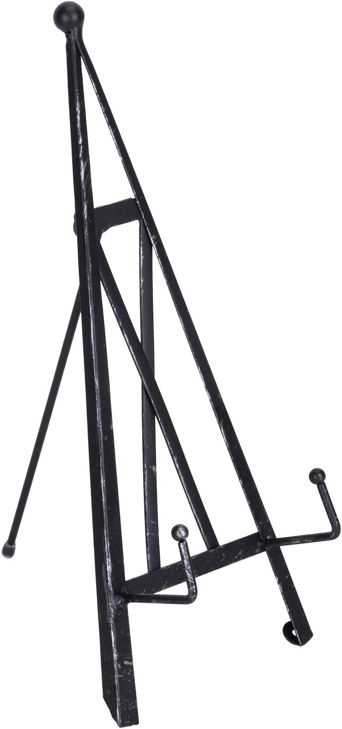 "SIMMER STONE Tripod Display Stand, Industrial Style Metal Tripod Plate Holder, Large Decorative Stand for Art, Picture, Photo Frame, Book, Magazine, 15"" H Black"