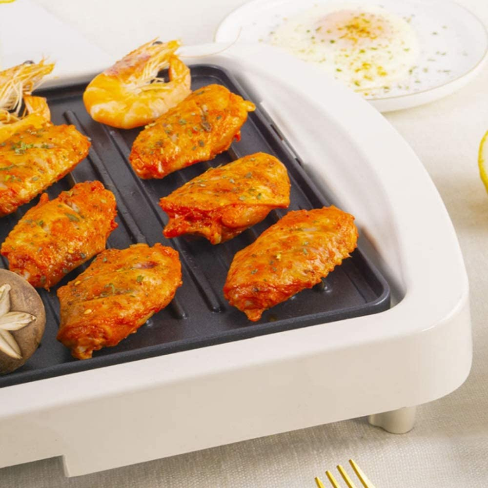 LDH Barbecue Grill Poêle Barbecue électrique Four Pan Accueil Barbecue antiadhésif Barbecue Pot Barbecue Teppanyaki Pan (Couleur : Or) Blanc