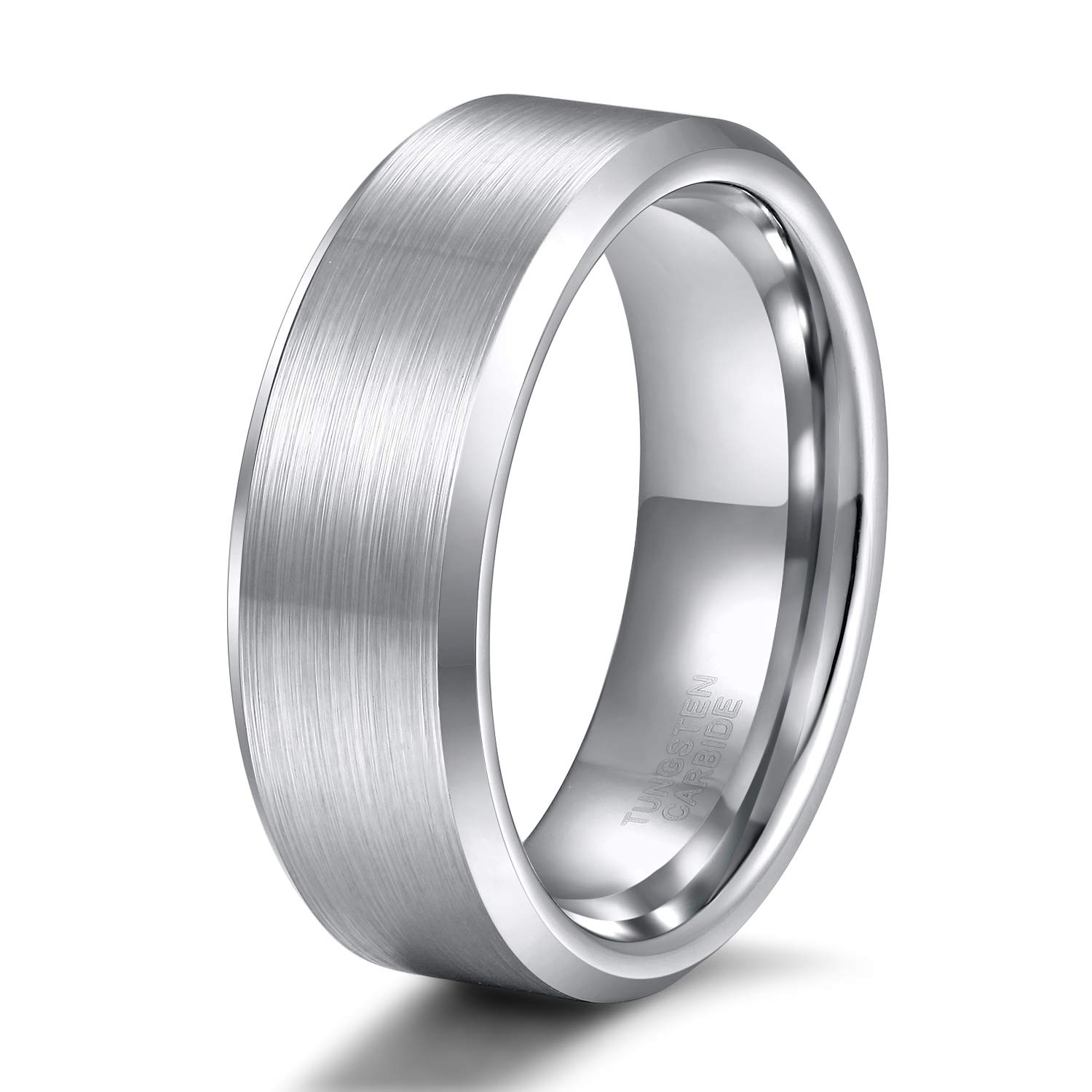 Shuremaster 8mm Mens Womens Tungsten Ring Beveled Edge Brushed Silver Wedding Band Comfort Fit Size 11