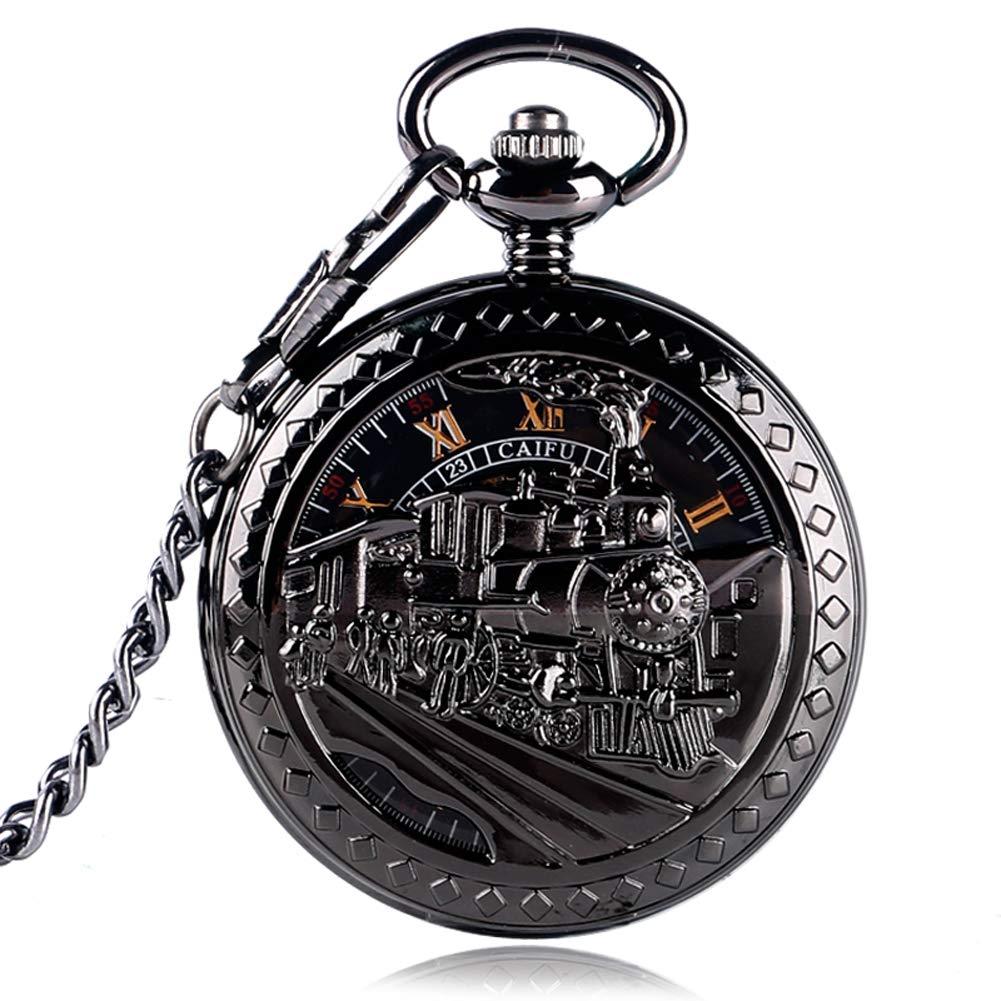 Unique Pocket Watch, Exquisite Skeleton Running Steam Train Pocket Watch for Men, Mechanical Hand Winding Pocket Watch Gift