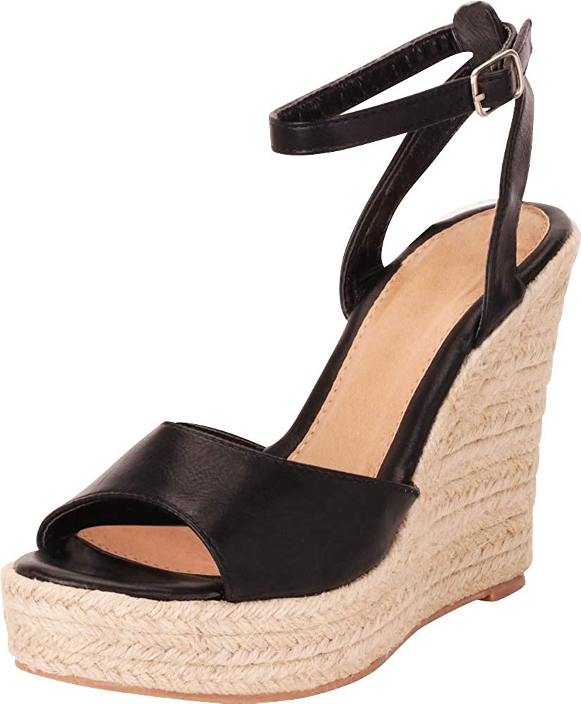 Black Pu Cambridge Select Women's Ankle Strap Chunky Espadrille Platform High Wedge Sandal