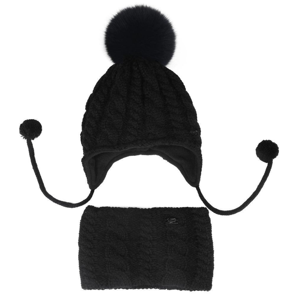 Kids Baby Winter Beanie Hat - Real Fur Pom Pom Hats Scarf Set For Girls Toddler Children FURTALK Original (Black)