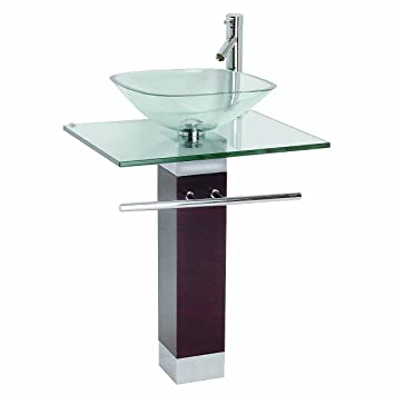 Tempered Glass Pedestal Sink, Chrome Faucet, Towel Bar And Drain Combo