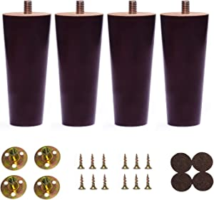 Bikani Round Solid Wood Furniture Sofa/Chair/Couch/Loveseat/Cabinet Replacement Legs (5 Inches,Set of 4)