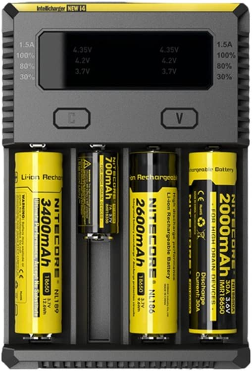 Nitecore New i4 Intelligent Charger for Li-ion Ni-MH AA AAA 18650 16340 26650 Batteries with Travel Bag and Battery Organizer