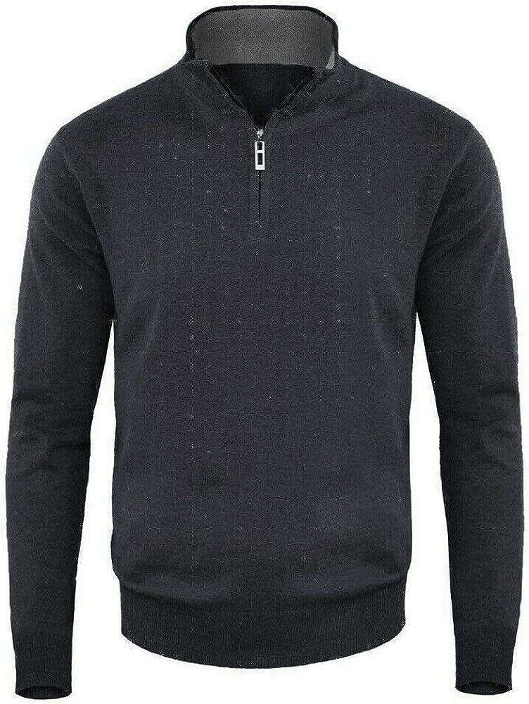 DEMONA Maglione Uomo Autunno Inverno Collo Alto con Zip Vari Colori Pullover Lupetto Casual Ragazzo Maglia MZ