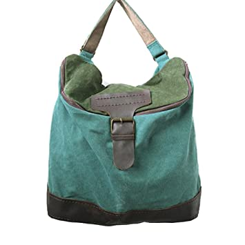 6fde233aa62 BUYKUD Women s Canvas Casual Shoulder Bag Leather Backpack Daily Bag  (Green)  Amazon.co.uk  Computers   Accessories