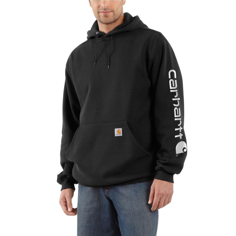 Carhartt K288BLK Black Midweight Logo Sleeve Sleeve Hooded Sweashirt-3X Large