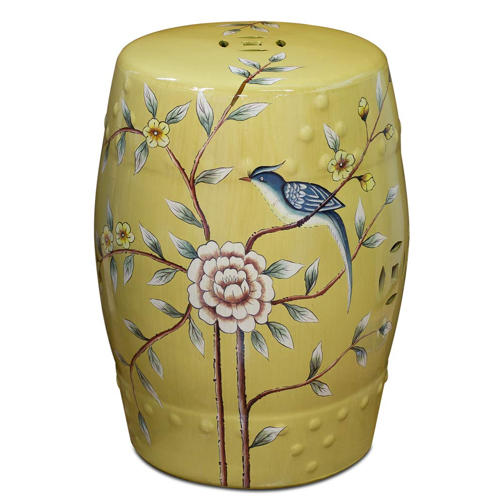 ChinaFurnitureOnline Porcelain Garden Stool, Hand Painted Flower and Bird Motif Yellow Glaze